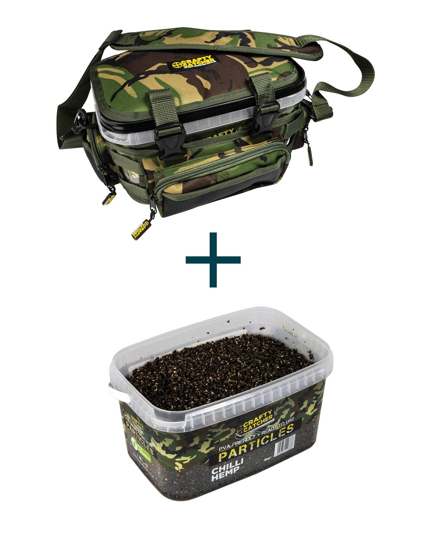 Crafty Catcher DPM Bucket Bag + Chilli Hemp Particle Bucket 3kg