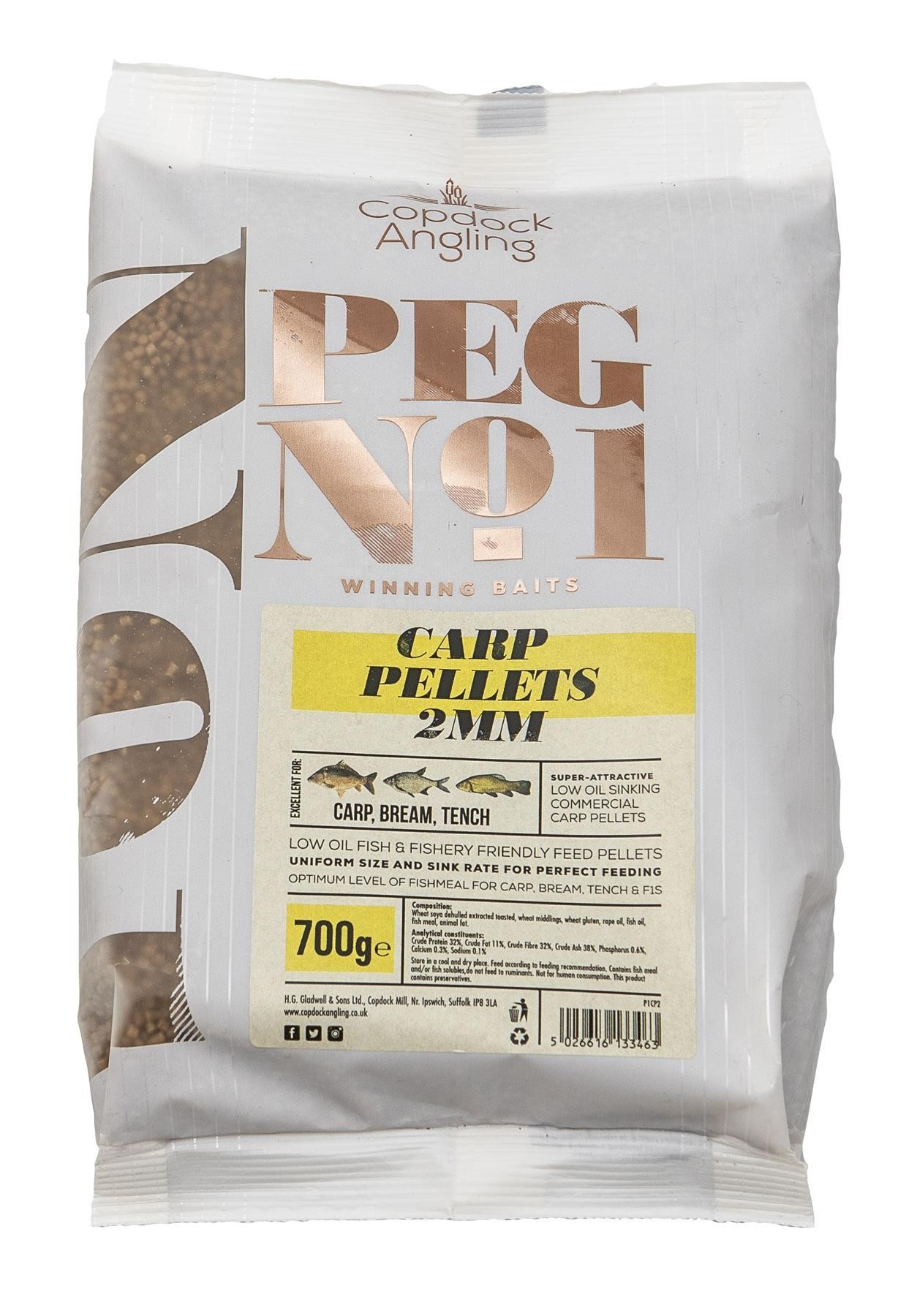 Peg No.1 Commercial Carp Pellets 2mm 700g