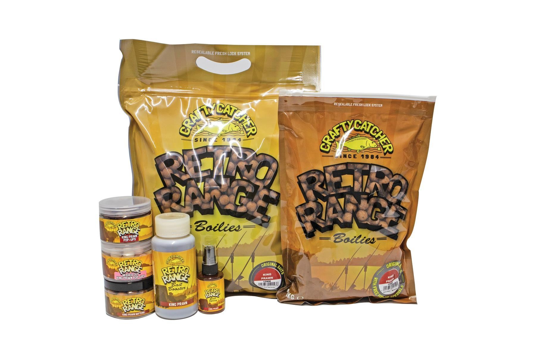 Crafty Catcher Retro Range King Prawn Bundle Boilies & Liquids 2.5kg