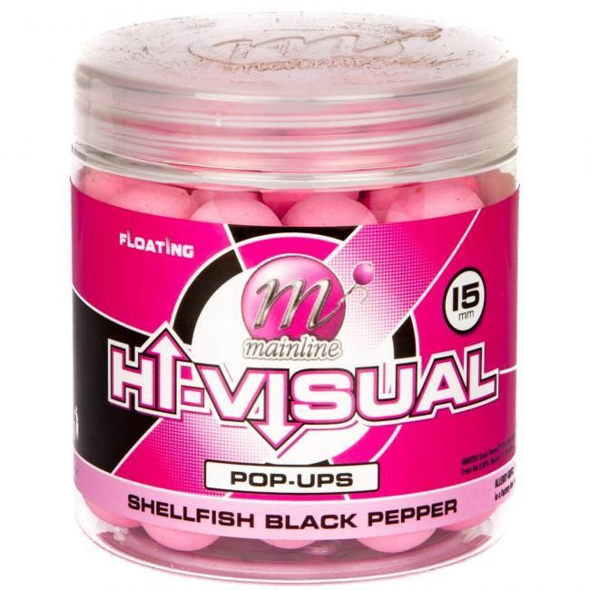 Mainline Pop Ups Hi-Visual Washed Out Pink Shellfish Black Pepper 15mm